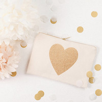 Glitter Heart Canvas Pouch