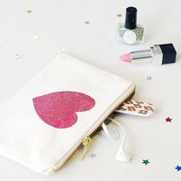 Heart Little Canvas Pouch