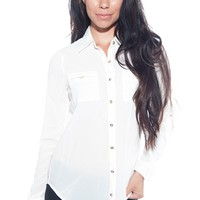 Pocket of Turbulence Pocket of Button Up Top - White