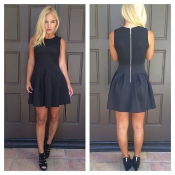 Pretty Sweet Pleat Flair Dress - BLACK