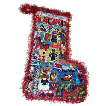 Christmas Stocking Extra Large Denim Kids Cars Horses Tradition Unique