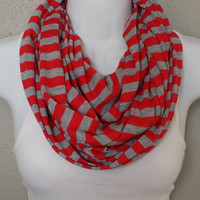 Coral and Grey Striped Infinity Scarf Summer Fashion Womens Scarf Knit Back to School Circle Scarf Girls Scarves