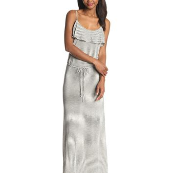 Joie Women's Boxer Jersey Stripe Ruffle Top Cami Maxi Dress