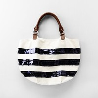 Navy Sequin Stripe Tote: Women's Belts & Handbags: LOFT