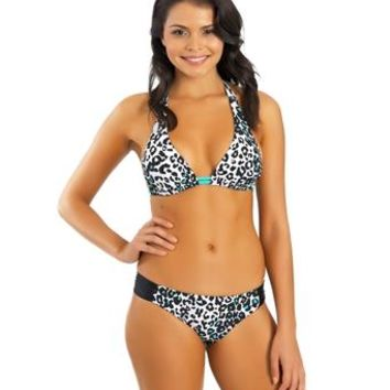 Hurley - Raging Roar 2Way Halter Bikini Top and Raging Roar Aussie Tab Side Bikini Bottom