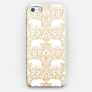 Elephant Damask White Clear iPhone 5s case by Jacqueline Maldonado | Casetify