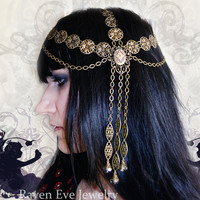Art Nouveau Goddess Chain Headpiece Head Chain by ravenevejewelry