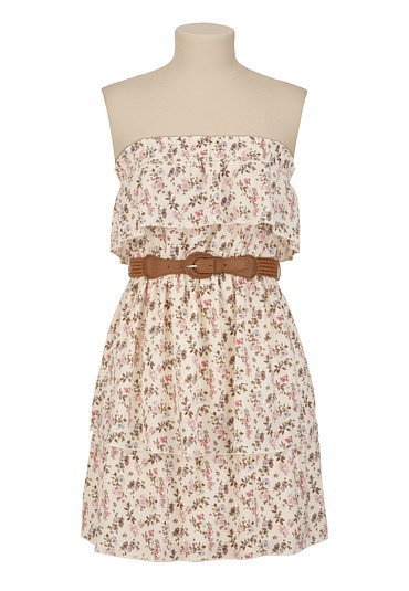 Belted Floral Tiered Tube Dress