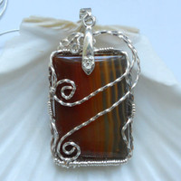 Banded Carnelian Pendant by elainesgems on Etsy