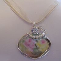 PInk & Yellow Roses Procelain Cameo by elainesgems on Etsy