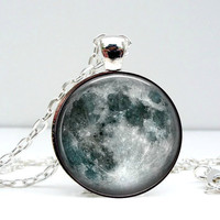 Moon Pendant Necklace Glass Art Jewelry Picture by Lizabettas