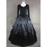 Cheap Long Sleeves Bowknot Multi-Layered Black Gothic Victorian Dress [TQL120427044] - £68.59 :