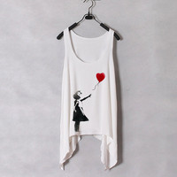 Banksy Heart Ballon  Women Tank Top  White  Sides