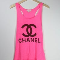 Classic Chanel  Women Tank Top  High Light Pink