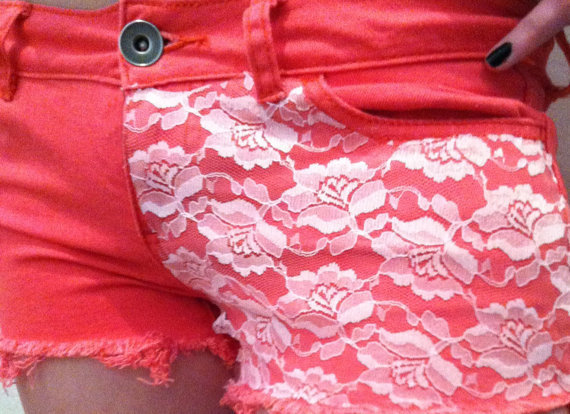 After Sunset Coral Shorts with Lace