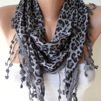 Leopard Grey Scarf  by SwedishShop on Etsy