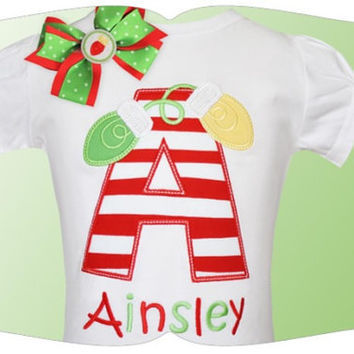 Christmas Lights Font Applique Custom Tee Shirt - Customizable -  Infant to Youth