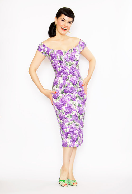 Rockabilly Girl by Bernie Dexter**50s Style Lilac Print Scarlet Pin-Up Wiggle Dress - Unique Vintage - Cocktail, Evening, Pinup Dresses