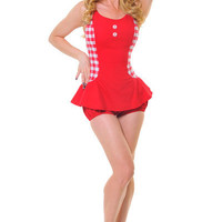 Red Gingham Maybelle One Piece Romper - Unique Vintage - Cocktail, Evening, Pinup Dresses