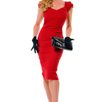 Stop Staring 40's Style Red Billion Dollar Baby Wiggle Dress - S - 3X - Unique Vintage - Cocktail, Evening, Pinup Dresses