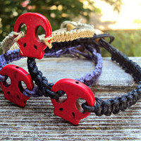 Red Skull Hemp Bracelet in Purple Natural or by AshleyAnnJewelry