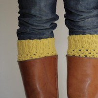 Crochet Boot Cuffs In Mustard Yellow | Luulla