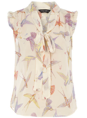 Bird print pussybow blouse - View All New In - What's New - Dorothy Perkins