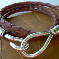 $17.99 Men's Leather Bracelet Triple Wrap Saddle by UrbanSurvivalGearUSA
