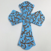 Metal Wall Cross Blue Brown Filigree Hand by daisybethdesigns