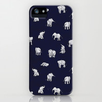 Indian Baby Elephants in Navy iPhone & iPod Case by Estelle F
