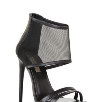 Black BCBG Ferned High-Heel Mesh-Cuff Sandal