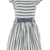 Blue/cream stripe belted dress - View All - Dresses - Dorothy Perkins