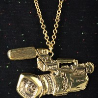 'Video Camera' Fine Brass Necklace | Indie Clothes & Accessories