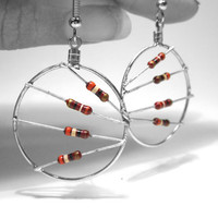 Resistor Earrings Sangria Red Hoop Recycled by clonehardware