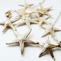 SUMMER SALE Real starfish necklace - Gold dipped - Nautical - Beach wedding - Bridesmaid - Summer jewelry - Starfish jewelry