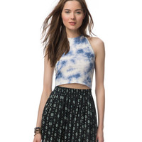 Tie-Dye Cropped Halter Top