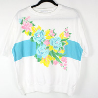 Vintage White Blue Roses Graphic T-Shirt