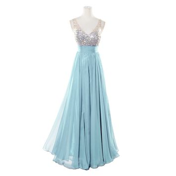Fashion Plaza Made to Measure V-neck Crystal Formal Evening Party Dress D0137