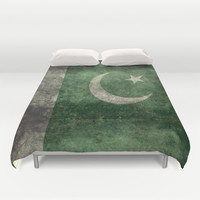 The National Flag of Pakistan - Vintage Version Duvet Cover by LonestarDesigns2020 - Flags Designs +