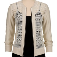 Contrast Zip Lace jacket
