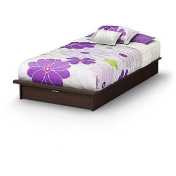 Walmart: South Shore Twin Platform Bed with Storage Drawer and Mattress, Chocolate/Tan
