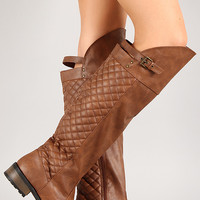 Qupid Relax-128x Quilted Riding Knee High Boot