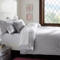 Florette Duvet Cover + Sham, Light Grey