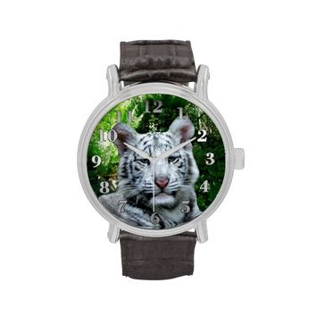White Tiger Vintage Leather Strap Watch