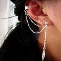 Feather Chain Ear Cuff by SimplyEncharming on Etsy