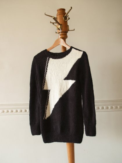 piiqshop - Market Place - Graphic Jumper: Orco in Black and Cream. Handmade, Custom Order