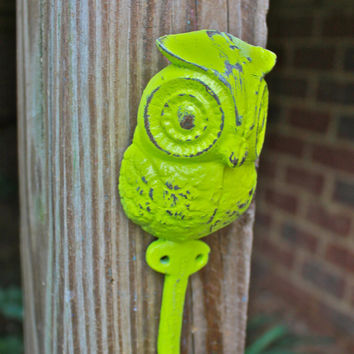 """Whimsical Lime Green """"OWL"""" Wall Hook by AquaXpressions"""