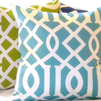 Outdoor Pillow Set  includes 3 Trellis blue green and by MicaBlue