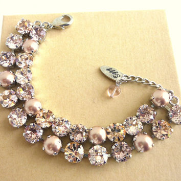 Swarovski crystal bracelet, double strand, vintage rose and pearls, 8mm rose designer inspired crystal bracelet,
