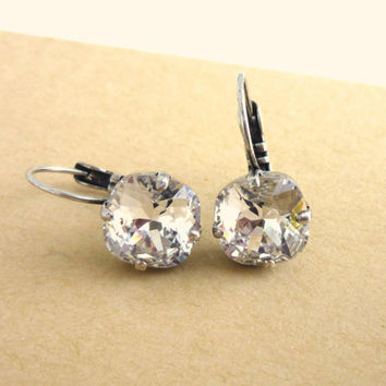 NEW Swarovski 10mm crystal lever-back earrings - clear crystal, designer inspired crystal earrings. Siggy earrings